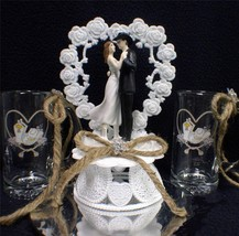 Wedding Cake topper LOT W/ set of Country Western Print  beer Stein Glasses - $88.11