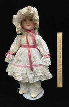 "Porcelain Doll Girl White Country Dress Tulip Flowers w/ Bonnet 16.5"" w/... - $14.84"