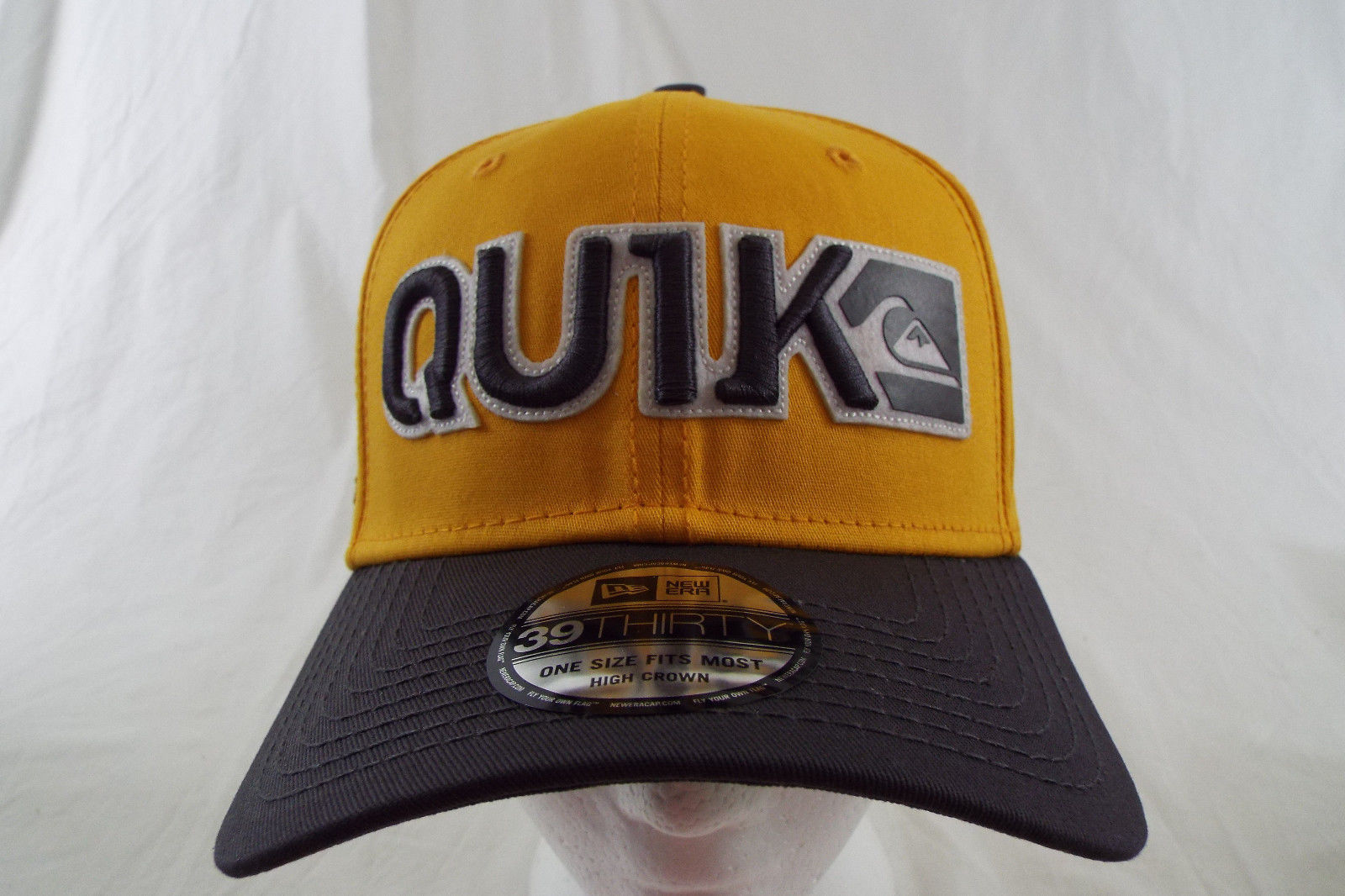 Quiksilver 39THIRTY New Era Hat High Crown Yellow Grey NWT One Size