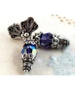 Sterling Silver Fan Tanzanite AB Bead Earrings Victorian - $28.99