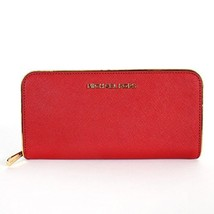 Michael Kors Specchio Jet Set Travel ZA Continental Wallet Red - $192.06
