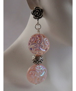 Iridescent Pink Paisley Glass Sterling Silver E... - $24.99