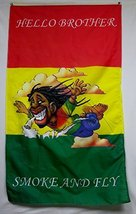 Hello Brother Rasta Man Smoke And Fly Flag 5' X 3' Series 2 Banner - $12.95