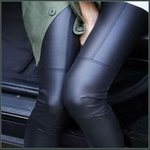 Spliced Brown or Black Faux Pleather Elastic Waist Skinny Stretch Pants Leggings image 2