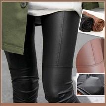 Spliced Brown or Black Faux Pleather Elastic Waist Skinny Stretch Pants Leggings image 3