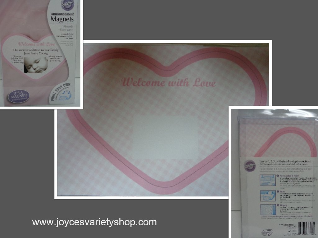 Baby announcements pink hearts collage