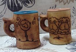 Vintage Pair of Mexican Pottery Folk Art Spanish Writing Mugs - $8.00
