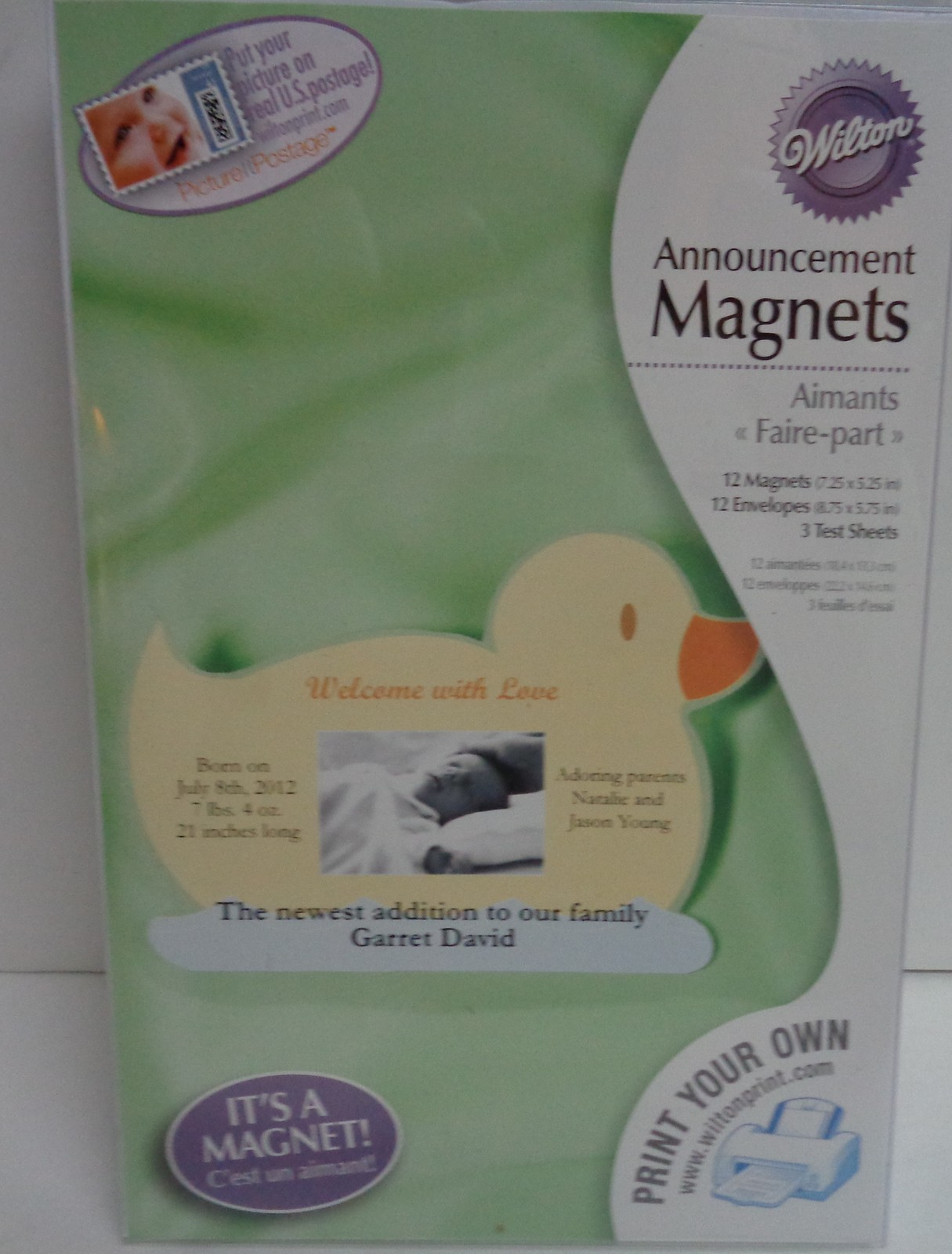 Baby Announcement Magnets 12 Pieces Yellow Duckie NIB DIY Personalize Perfor
