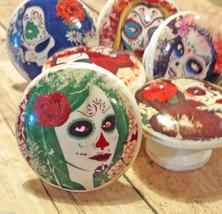 "6 Lady Sugar Skulls Knob Drawer Pulls, 1.5"" Knobs, Handmade Day Of The Dead - $35.64"