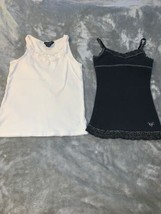 Lot of 2 Girls Size 8-10 Cami Tank Tops Justice Black Ralph Lauren White GUC - $14.00