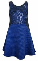 Big Girls Tween Royal-Blue Colorblock Sequin And Lace Dress, Hannah Banana