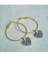 1.5 Inch Gold Plated Hoop Earrings With Silver Plate Heart - $7.99