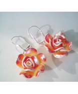 Pink And Silver Rose Drop Earrings - $12.99
