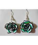 Black and Teal Rose Drop Earrings - $12.99
