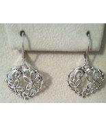 Open Flower Design Tibetan Silver Heart Earrings - $6.99