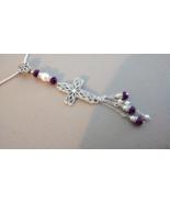 Beautiful Drop Cross Necklace With Purple Swarv... - $23.99