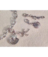 "Beach Time Sea Creatures Clip Charm Bracelet 7"" With 2"" Extend  - $15.99"