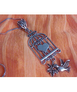 Adorable Tibetan Silver Bird Cage Necklace - $12.99