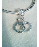 Handcuff  Charm Great For Euro  Bracelets Necklaces With Bail - $5.99