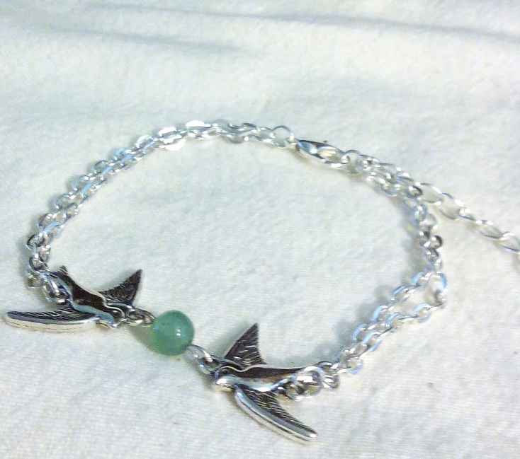 Tibetan Silver Double Chain Jade Dove Bracelet 7 Inches With 2 Inch Extend