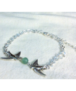 Tibetan Silver Double Chain Jade Dove Bracelet 7 Inches With 2 Inch Exte... - $21.99