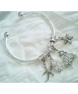 Tibetan Silver Beach Time Theme Four Charm Cuff... - $18.99