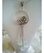 Vintage Rose Circle Pendant With White Jade Beads   - $24.99
