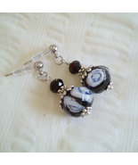 Black And Blue Lampwork Glass And Black Swarovski Crystals Stainless Ste... - $18.99