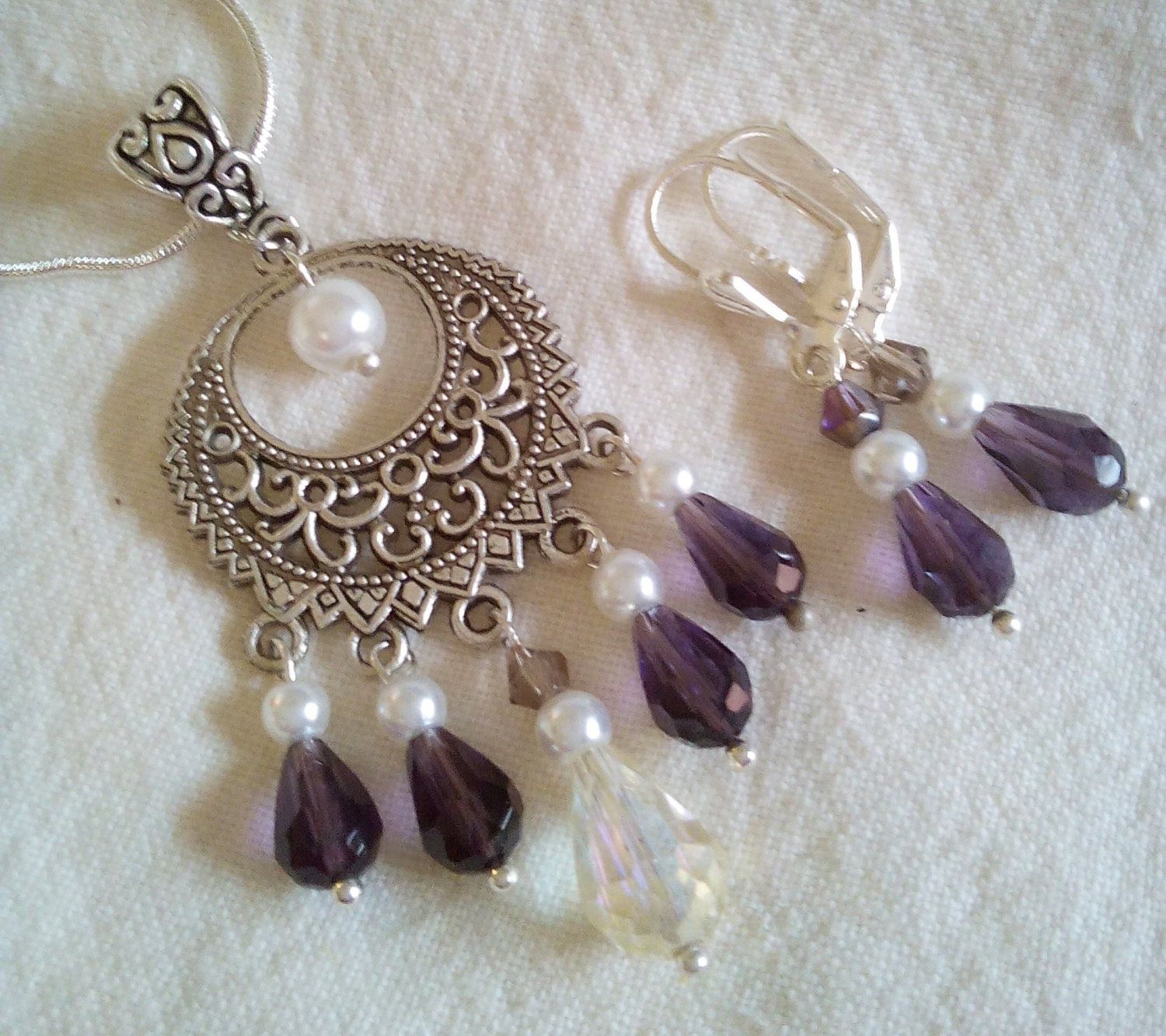 Stunning Open Scroll Pendant With Purple Swarovski Crystals Glass Pearls Set