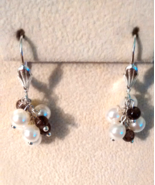 Amethyst Swarovski Crystal Pearl Cluster Earrings Free Shipping - $10.99