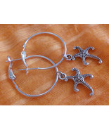 1 Inch  Silver Plated Starfish Hoop Earrings  F... - $8.99