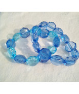 2 Blue Faceted Stretch Lucite Bead Bracelets - $10.99