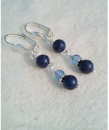 Genuine Blue Lapis Dangle Leverback Earrings - $14.99