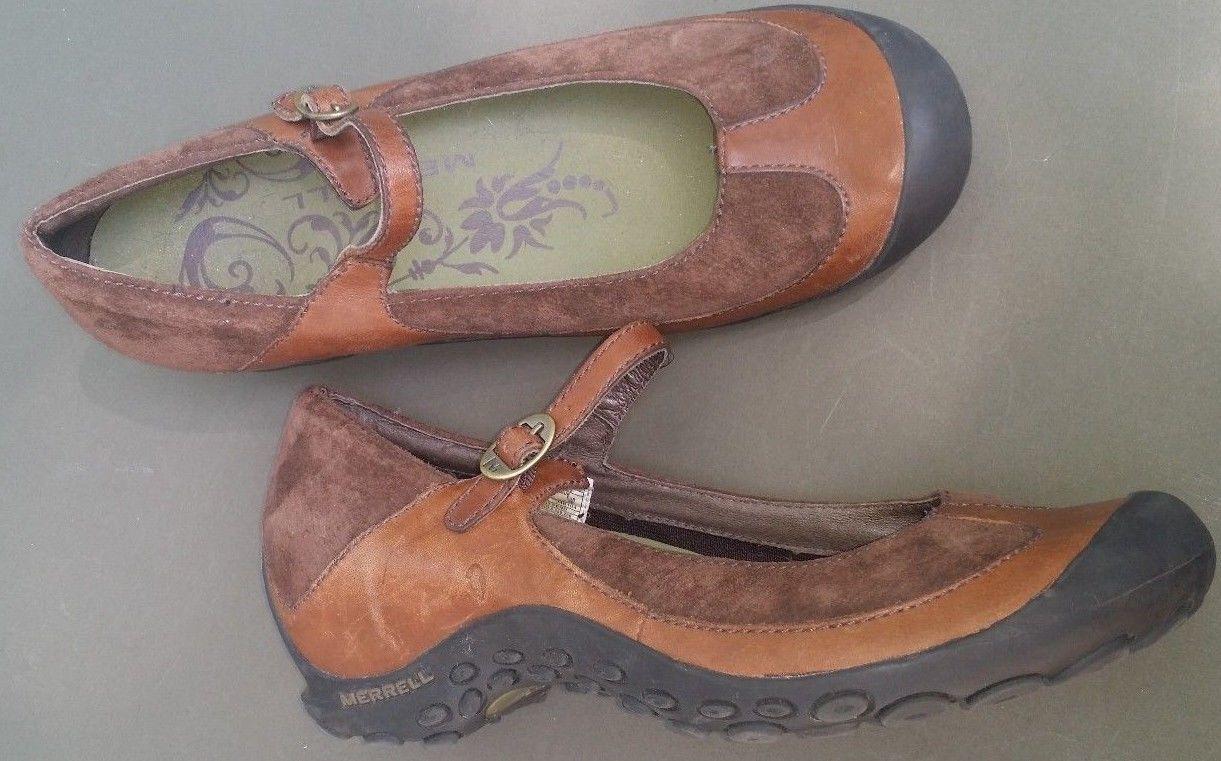 Merrell Suede Maryjanes Saddle Mocs Shoes 8.5 B Plaza MJ Leather