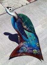 Original sea turtle hand carved painted Florida palm tree frond tortoiss... - £57.10 GBP