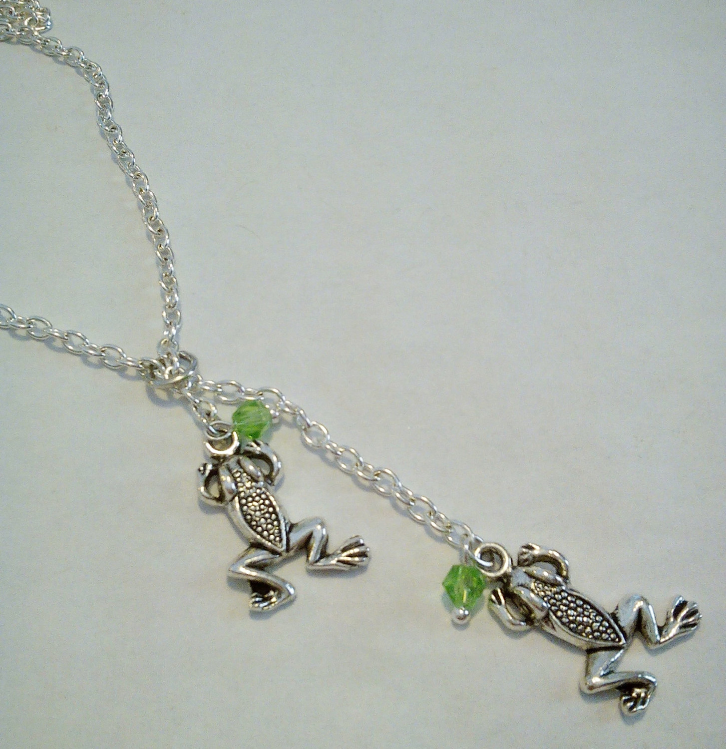 Tibetan Silver Frog Y Lariat Necklace 26 Inches Long