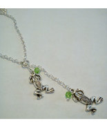 Tibetan Silver Frog Y Lariat Necklace 26 Inches Long  - $13.99