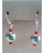 Hand Painted Poinsettia Glass Pearl Earrings   - $14.99