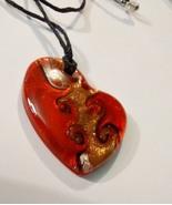 Beautiful Lampwork Glass Heart Pendant on Cord  - $14.99