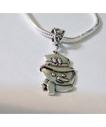 Snowman Tibetan Silver Charm Fit European Chain Bracelet Or Necklace  - $0.00