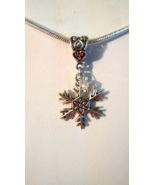 Snowflake Tibetan Silver Charm Fit European Chain Bracelet Or Necklace  - $0.00