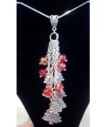 Beautiful Red Swarovski Crystal Tibetan Silver Christmas Tree Drop Neckl... - $23.99