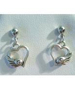 Pretty Heart Wing Stud Earrings Stainless Steel... - $12.99