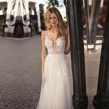 Backless Appliqued with Lace Deep V Neck Beach Wedding Gown Spaghetti Strap image 3