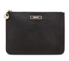 Dkny Flat Zipper Pouch Leather Clutch Black - $117.81