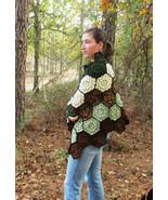 Autumn Colors Popcorn Crochet Shawl / Wrap - $35.00