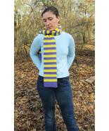 Purple and Yellow Handmade Crochet Scarf - $10.00