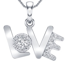 Round Cut CZ 14k White GP 925 Sterling Silver LOVE Pendant With Chain For Womens - $47.55