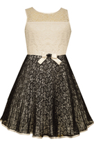 Big Girls Tween Black White Illusion Crystal Pleat Lace Fit Flare Dress