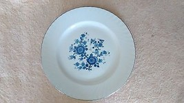"Royal Blue - Wedgwood - 10"" dinner plate - blue floral center- swirled rim - $6.65"